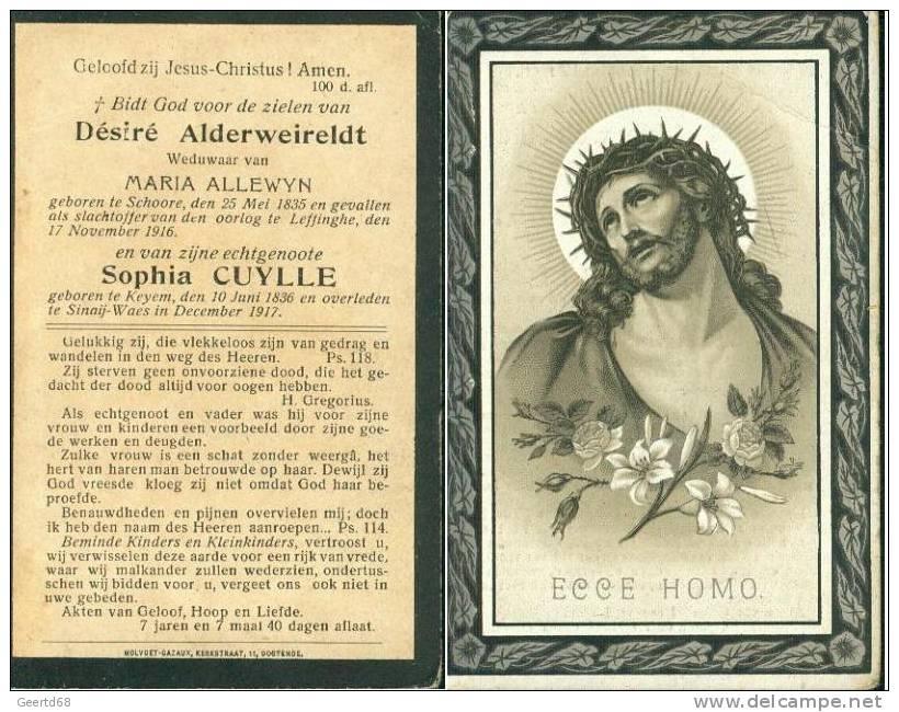 Doodsprentje Oorlogsslachtoffers Schoore Leffinghe Keiem Sinaij-Waes 1917 D. Alderweireldt S. Cuylle M Allewyn - Religion & Esotérisme