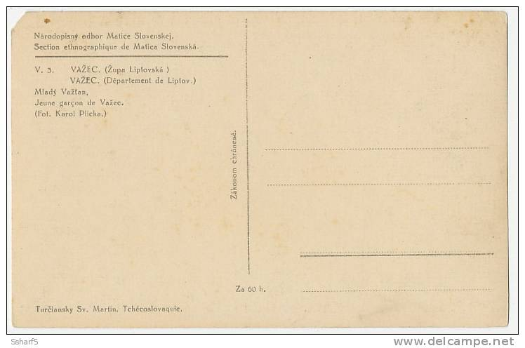 Folklore V.3 VAZEC Mlady Vastan Fot. Karel Plicka C. 1924 (corner Missing) - Slovacchia