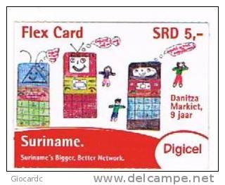 SURINAME (SURINAM) - DIGICEL  (GSM RECHARGE) - DRAWING DANITZA MARKIET 9 YEARS      EXP. 12.13  - USED  -  RIF. 2035 - Suriname