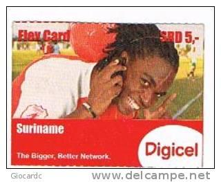 SURINAME (SURINAM) - DIGICEL  (GSM RECHARGE) - MAN WITH CELLULAR      EXP. 5.13       - USED  -  RIF. 2039 - Suriname