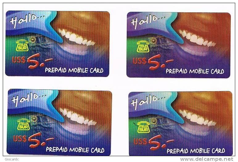 SURINAME (SURINAM) - TELE SUR  (GSM RECHARGE) - HALLO: LOT OF 4 DIFFERENT        - USED  -  RIF. 2052 - Suriname