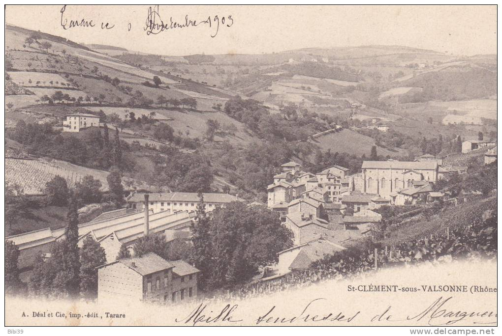 St-CLEMENTsous-VALSONNE.  _  Vue Generale. Usine Et Beaucoup De Vignes. Grosse Maison à Mi-coteau - France