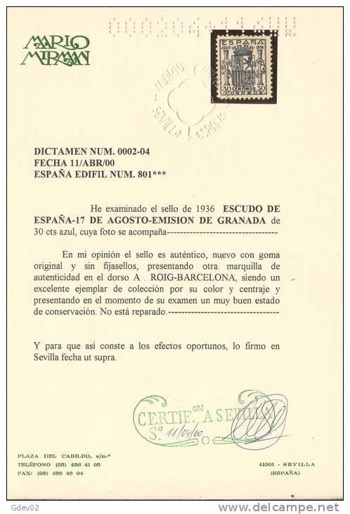 ES801-L4040TES.España Spain Espagne. ESCUDO DE ESPAÑA.1936. (Ed 801**).sin Charnela.Magnifico,CERTIF ICADO - Sellos