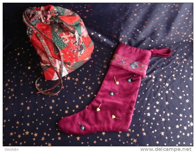 Christmas Boot; Botte De Noël.Déco Cœurs Confection Pièce Unique, Ruban, Perles 5 Photos. - Sonstige