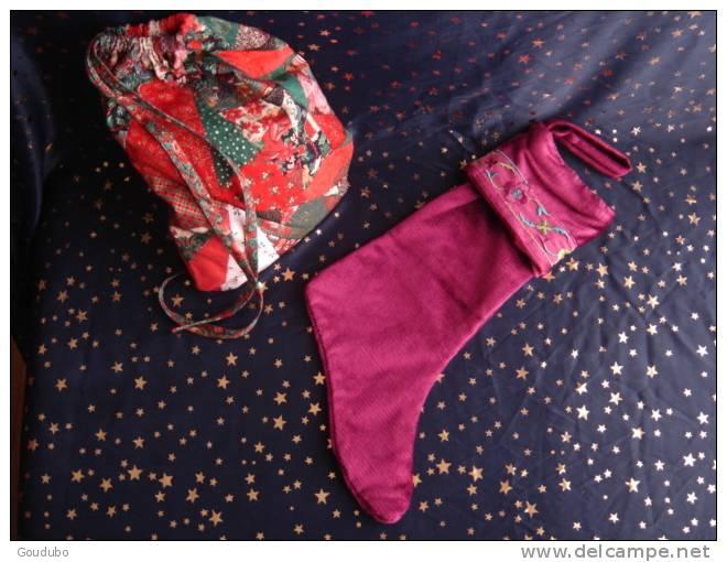Christmas Boot; Botte De Noël.Déco Cœurs Confection Pièce Unique, Ruban, Perles 5 Photos. - Otros