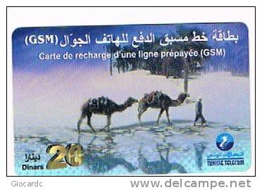 TUNISIA  -  TELECOM  (GSM RECHARGE) - CAMELS IN DESERT      -  USED -  RIF. 2649 - Tunisia