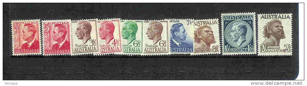 Australia-1950-57 KGVI Def Wtmk  ASC 258-267     MNH - Collections