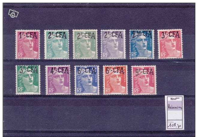 A21 - Série 11 Valeurs Marianne De Gandon CFA - Cote 108.70 € - Isola Di Rèunion (1852-1975)