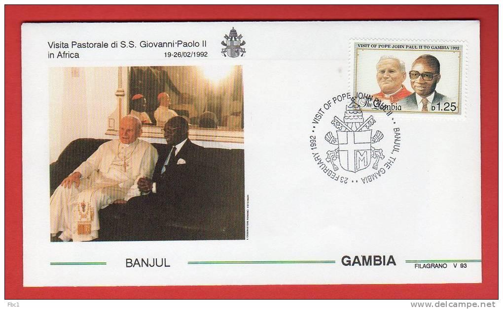 Gambie  - Enveloppe Voyage Du Pape Jean-Paul II - 1992 - Banjul - Gambie (1965-...)