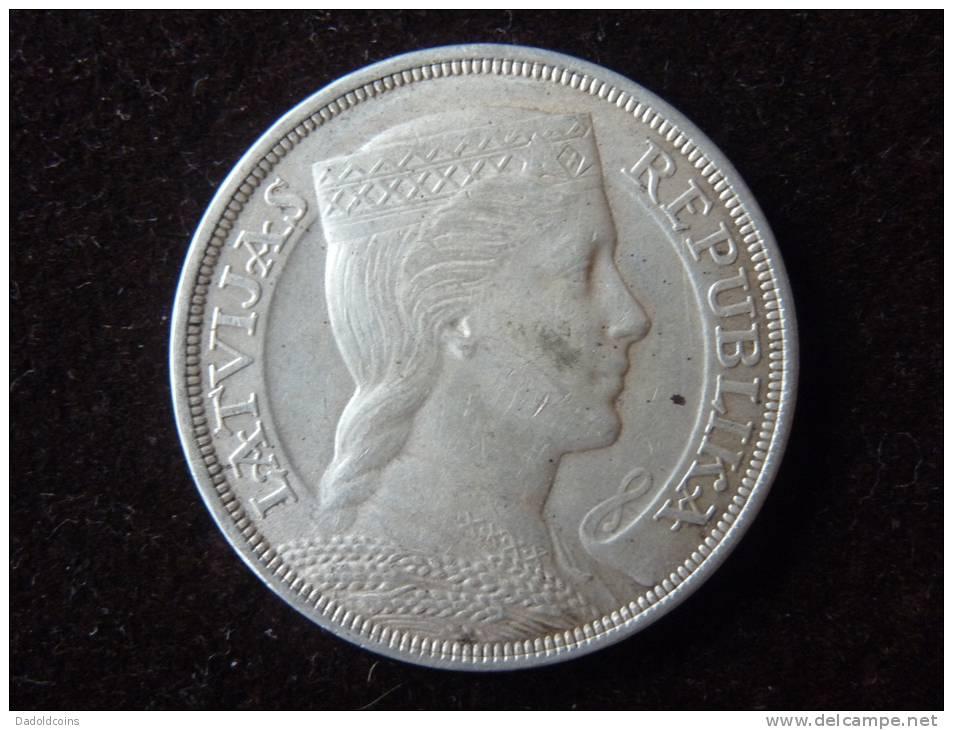 Latvia Lettonie Latuijas Republika Pièce Très Rare, 5 Lati Argent Silver Plata 1929, Muy Buena Conservación. Ver Foto - Lettonie