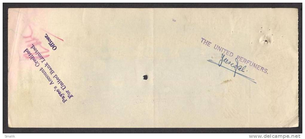 PAKISTAN The Australasia Bank Cheque 1964 Napier Road Karachi - Bank & Insurance