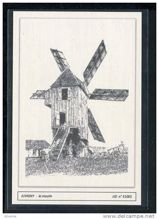 51  JUVIGNY    ..... Le  Moulin  - ...dessin Au Fusain ..... Edition Luxe - Moulins à Vent