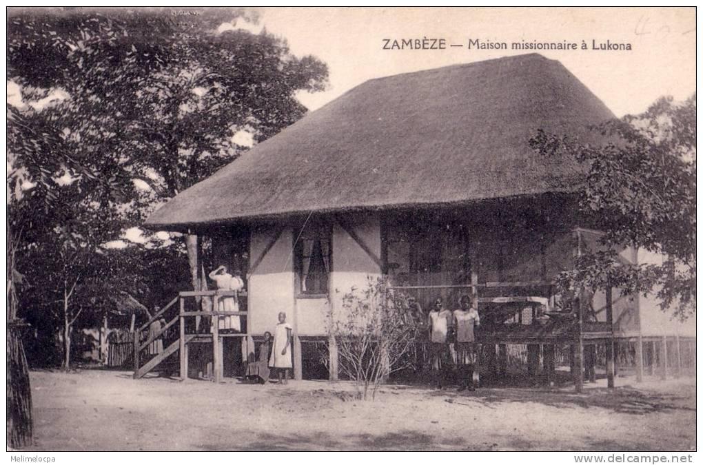 CPA Carte Postale Ancienne AFRIQUE MOZAMBIQUE ZAMBEZE Maison Missionnaire à Lukona Animée TBE - Mozambique