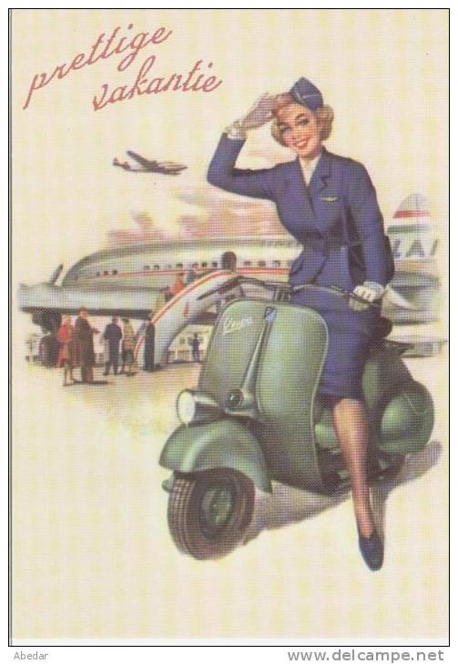 Moto Scooter Vespa Moteur. Velo, Motocyclette, Roller Femme Stewardess Flieger Illustrateur Artist  Postcard  Cpa. - Moto
