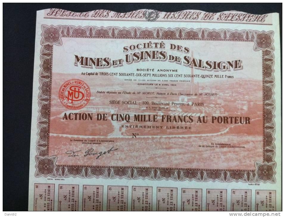 """MINES  D' OR   """"Société Des Mines Et Usines De Salsigne""""  AUDE  Décoré - Aandelen"""