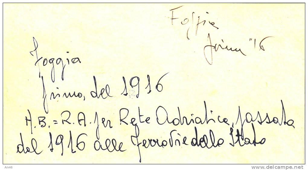 FOGGIA PUGLIA  MINI CARTOLINA 14,50X8 TRENO STAZIONE ANIMAZIONE 1916 VEDI RETRO E DESCRIZIONE - Foggia