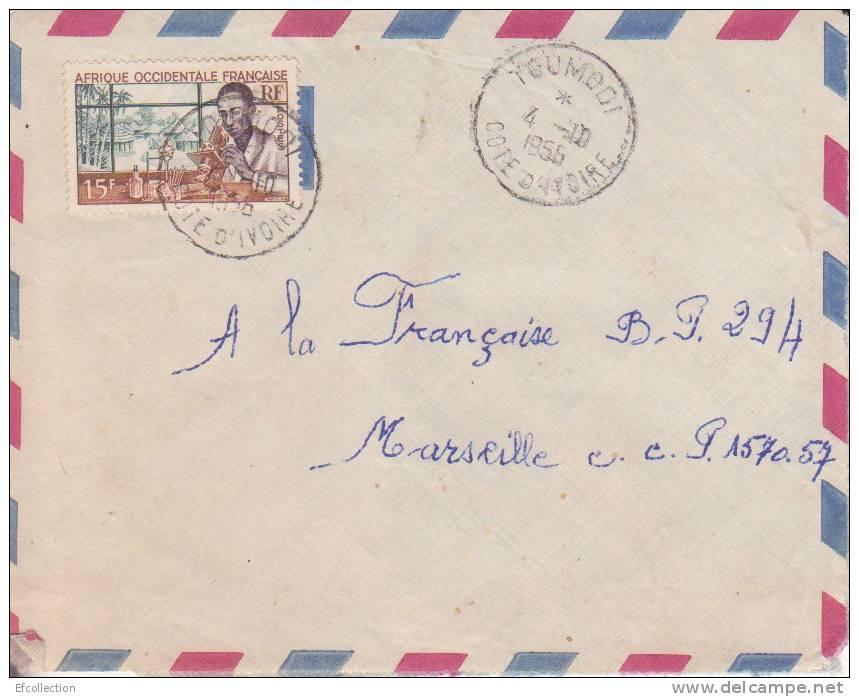 TOUMODI - COTE D´IVOIRE - 1956 - COLONIES FRANCAISES - LETTRE - MARCOPHILIE - Côte-d'Ivoire (1892-1944)