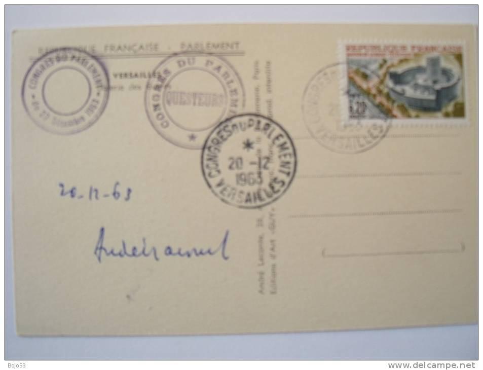 VERSAILLES    Oblitération Du Congrès Du Parlement Du 20 Décembre 1963 Sur Carte Postale - France