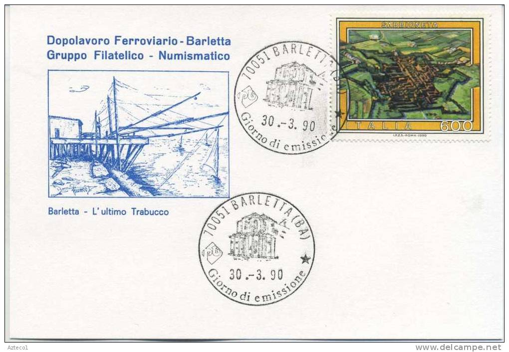 ITALIA - FDC  DOPOLAVORO FERROVIARIO BARLETTA  1990 - TURISMO - SABBIONETA - F.D.C.