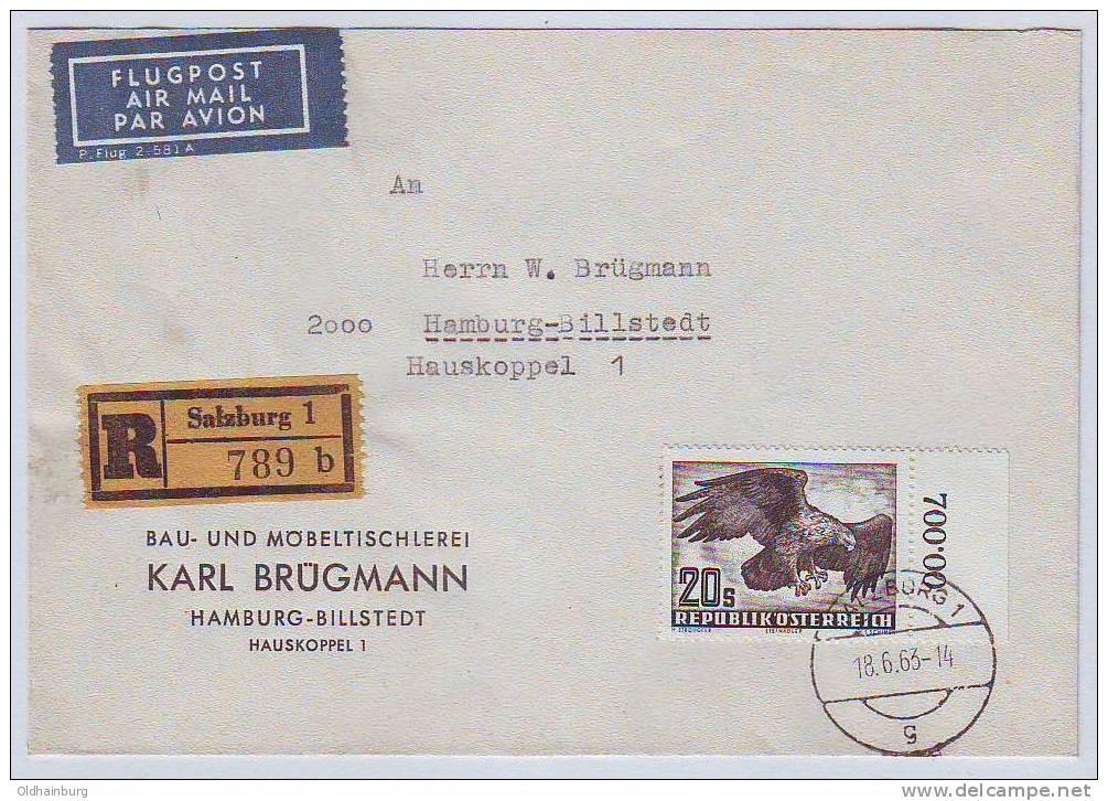 Österreich 1950, ANK 973, Flugpostserie 20.- Schilling Einzelfrankatur Salzburg 18.6.63 Nach Hamburg 600.- € - 1945-60 Briefe U. Dokumente