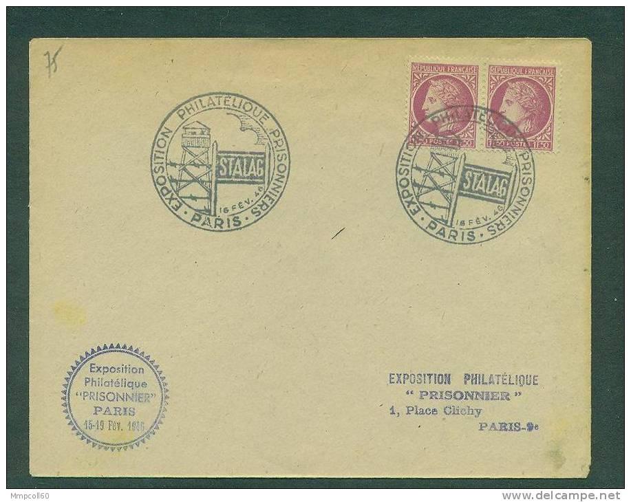 """Cachet GF Expo Philatélique """"Prisonniers"""" 1946 Sur Lettre - Marcophilie (Lettres)"""