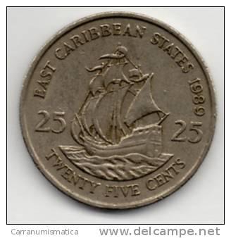 CARAIBI ORIENTALI 25 CENTS 1989 - Caraibi Orientali (Stati Dei)