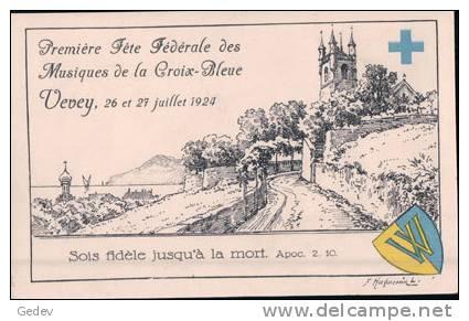 Vevey 1924, 1ère Fête Fédérale Des Musiques De La Croix Bleue Par Huguenin (2627724) - VD Vaud