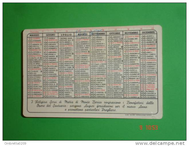 Calendarietto Anno1964 - Santuario Madonna Di MONTE BERICO,Vicenza - Religiosi SERVI Di MARIA - Omaggio Ai Benefattori - Calendriers