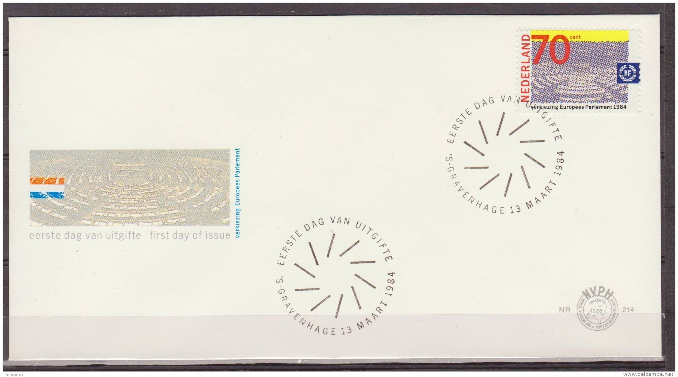 Netherlands, Nederland, 1984, European Parliament, E 214, FDC - Idee Europee