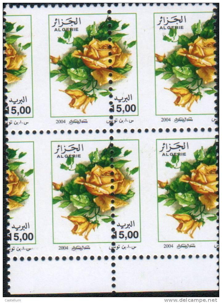 Algerie- Variété Neuve Sans Charnière 15d Roses Jaunes,avec Piquage à Cheval, T.B. - Algérie (1962-...)