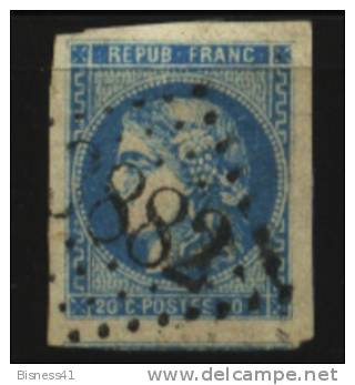 France, N° 60 Oblitération GROS CHIFFRES  N° 3882  // ST VALLIER SUR RHONE Au Quart De Cote - 1862 Napoleon III