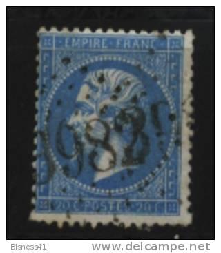 France, N° 22 Oblitération GROS CHIFFRES  N° 3982  //  TOULOUSE Au Quart De Cote - 1862 Napoleon III