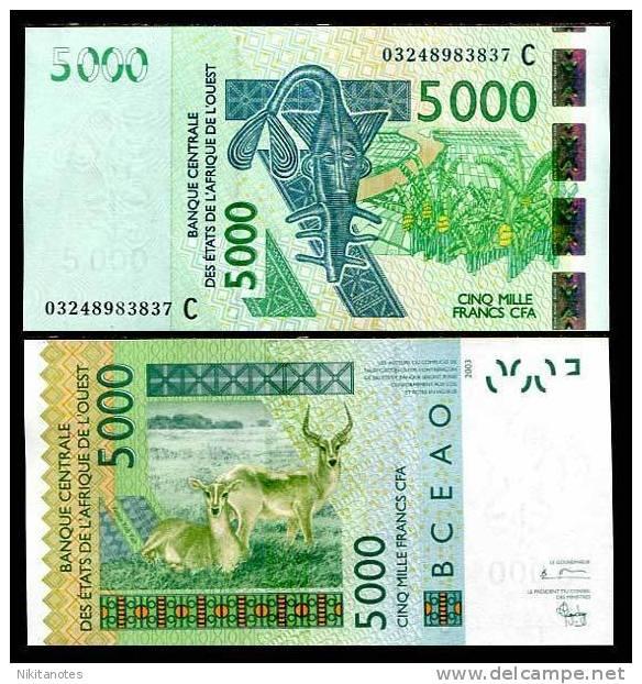 WEST AFRICAN ST. BURKINA FASO 5000 5,000 F. 2003 P 317 C UNC - Burkina Faso