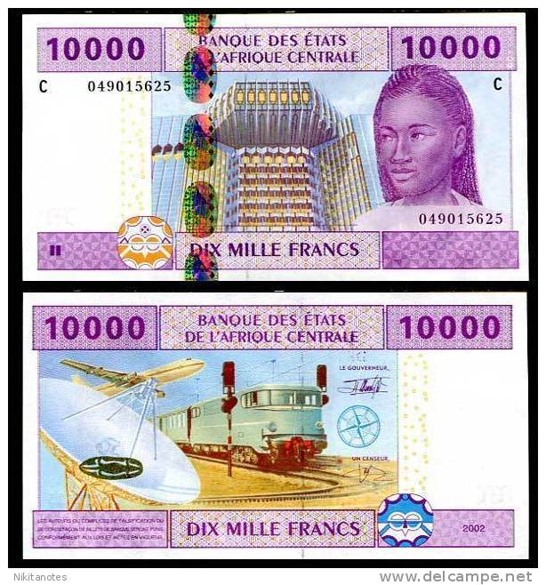 CENTRAL AFRICAN ST. CHAD 10,000 FR. 2002 P 610 C UNC - Ciad
