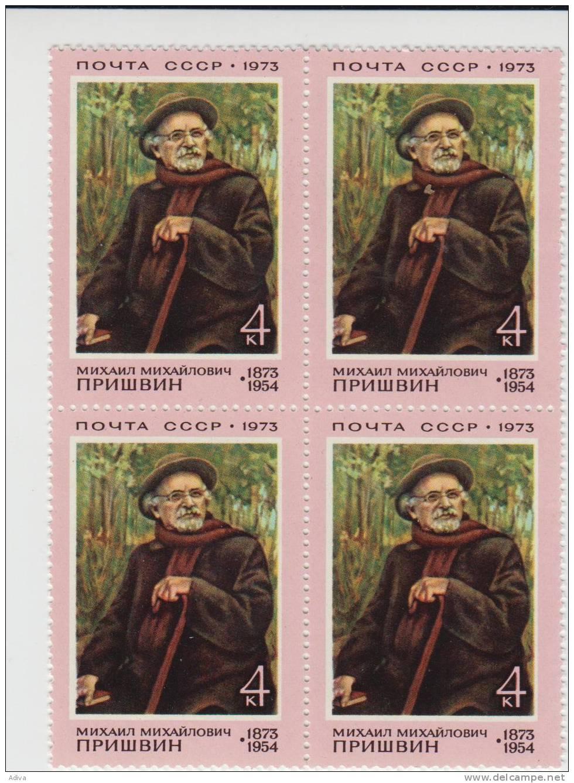 USSR 1973   MiNr. 4087  100th Birthday Of Michail Prischwin.square Block Of 4 - 1923-1991 USSR