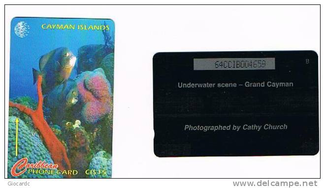 ISOLE CAYMAN     -  CABLE & WIRELESS  (GPT) - 1996 UNDERWATER SCENE CODE 64CCIB  -  USED  -  RIF. 1033 - Isole Caiman