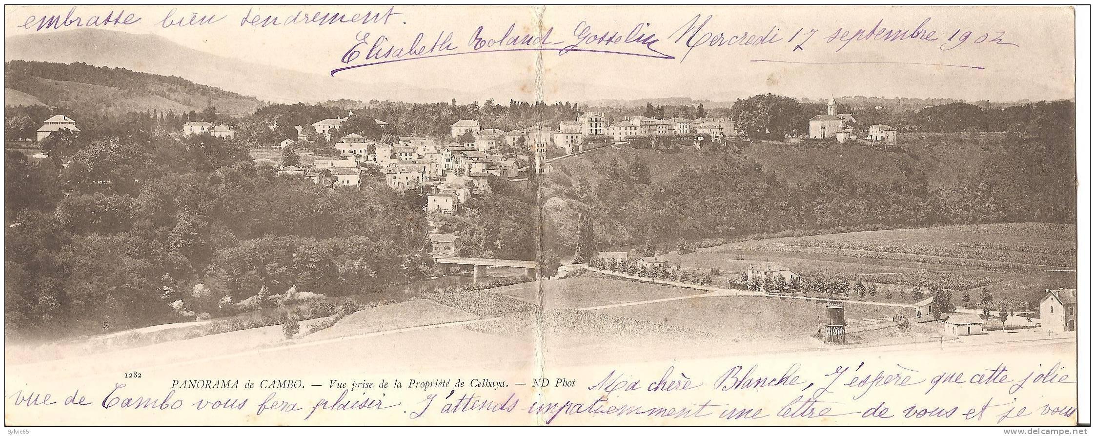 Carte Lettre-PANORAMA DE CAMBO-Vue Prise De La Propriété De Celhaya-ND Photo (1902) - Frankrijk