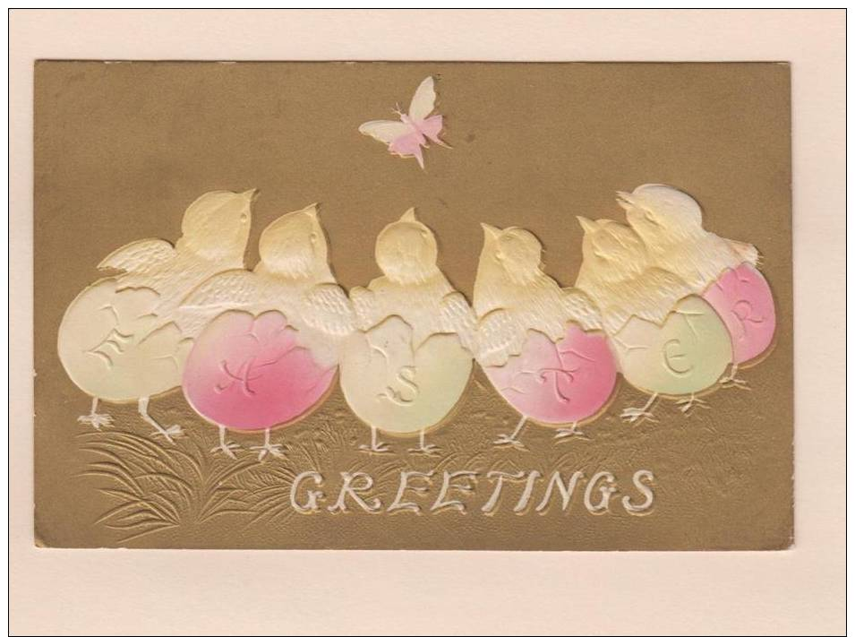 D50592 Postcard Greetings (Easter), Chicks In Eggs That Spell Easter Watching Butterfly, Airbrushed, Used - Easter