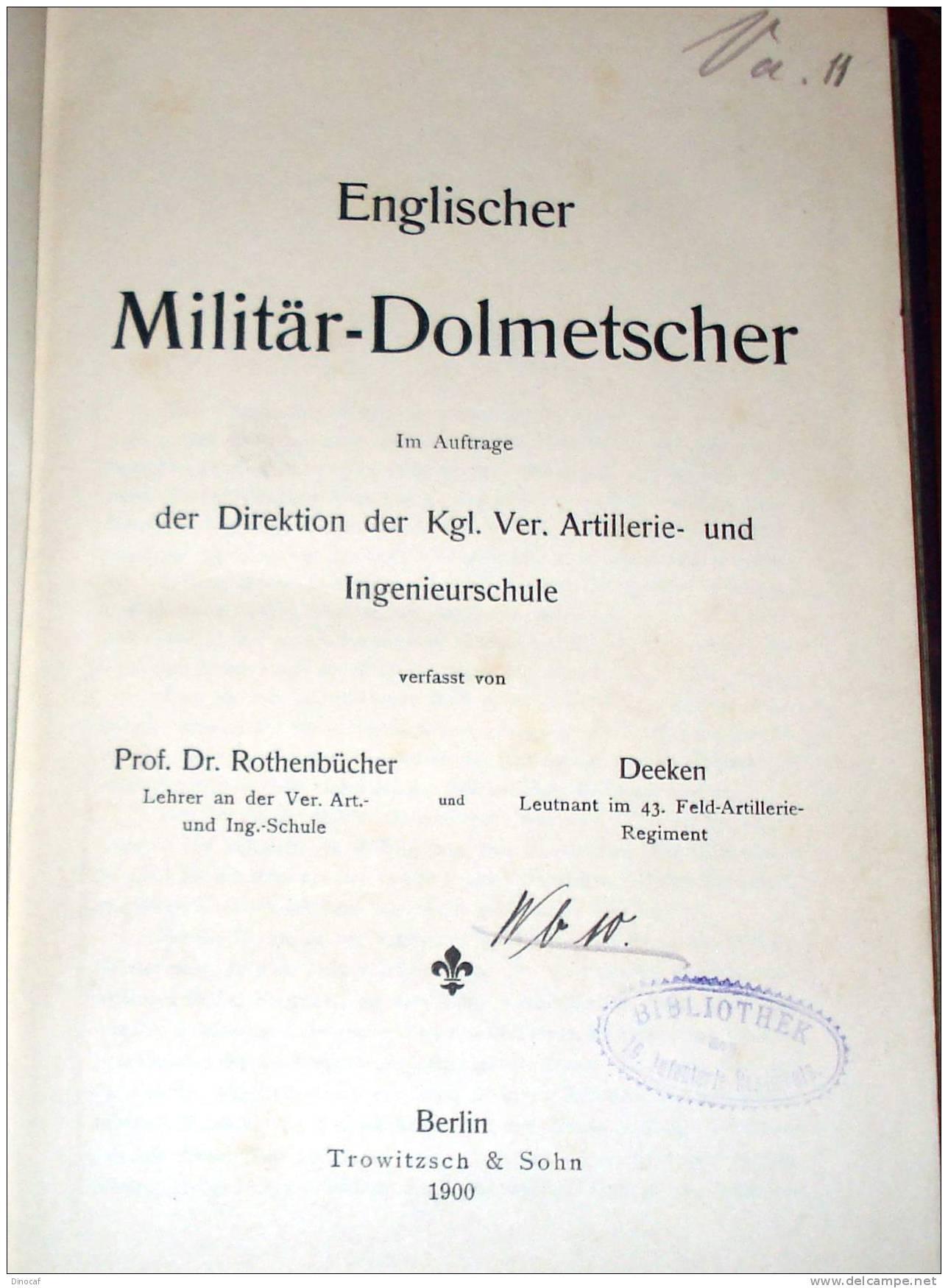 ENGLISCHER MILITÄR-DOLMETSCHER - BERLIN 1900 264 SEITEN (DT./ENGL.)  ORIGINAL, Militaria - Libri, Riviste, Fumetti