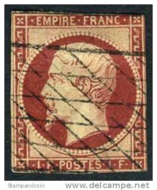 France #21 Used 1fr Napoleon III Of 1853 - 1853-1860 Napoleon III