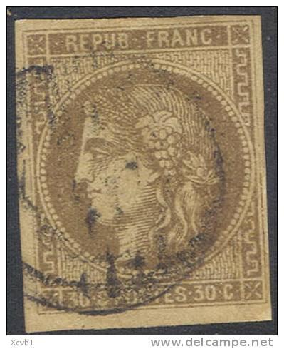 # France 46, Used, 4 Margins, Sound (fr046-10, Michel 42a [16-BBE - 1870 Emission De Bordeaux