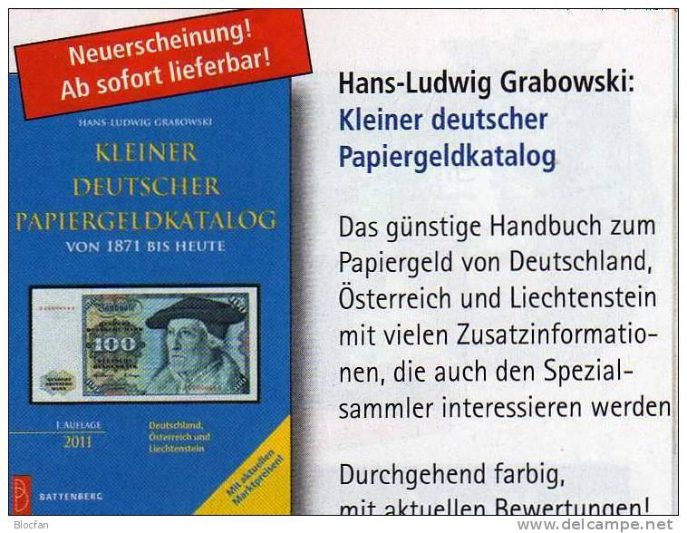 Banknoten Katalog Deutschland 2011 Neu 12€ Für Papiergeld Neueste Auflage Mit EURO-Banknoten Grabowski Battenberg Verlag - [ 3] 1918-1933 : República De Weimar