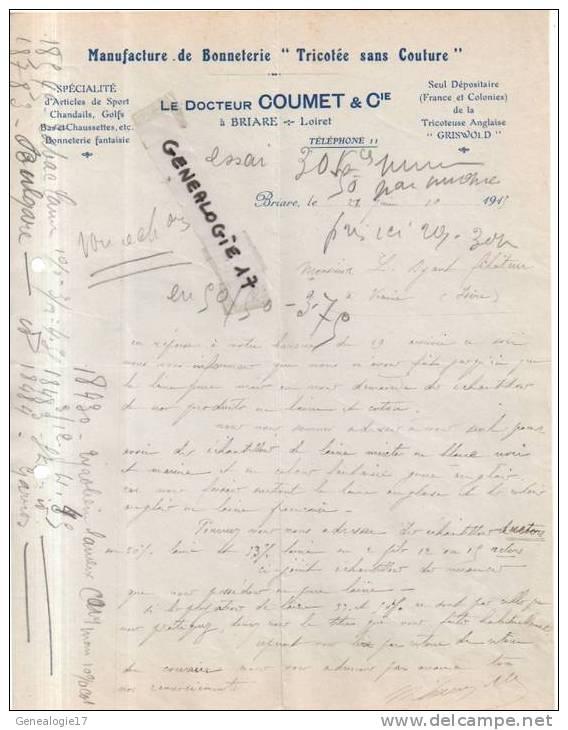 45 - 152 BRIARE LOIRET 1913 Manufacture Bonneterie LE DOCTEUR COUMET Cie De La Tricoteuse Anglaise GRISWOLD - Textile & Vestimentaire
