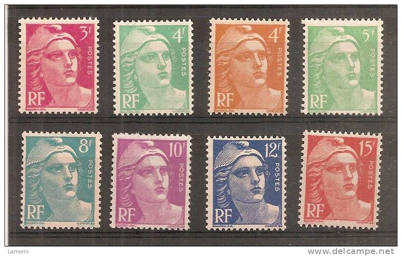 Type Marianne Gandon 1948 Neuf Sans Charnières Série N°806 à 813  Y&T Cote 11 € - France