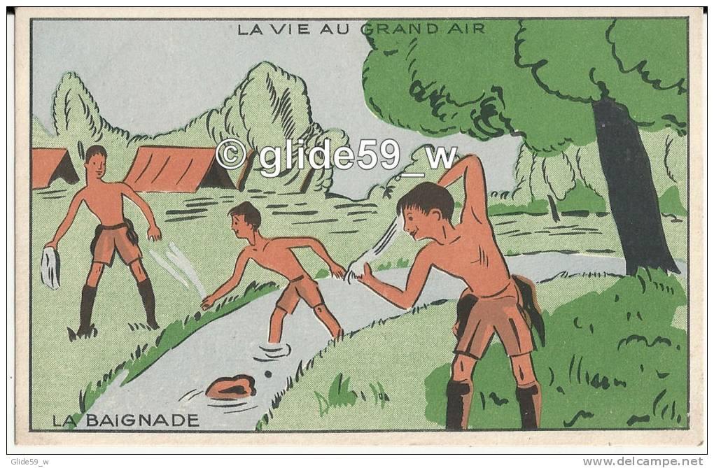 Carte Publicitaire Grands Magasins De La Samaritaine - Paris - La Vie Au Grand Air - La Baignade - Movimiento Scout