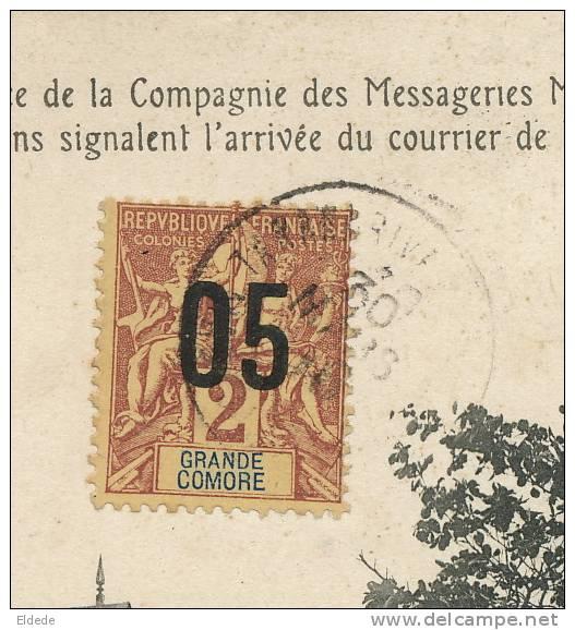 Timbre Grande Comore Sur CP Tamatave Agence MM Messageries Maritimes  Edit Ghigiasso - Comores