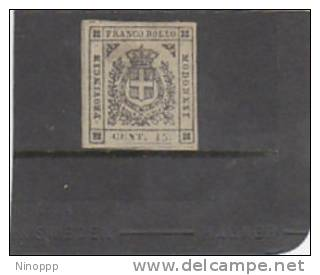 Italian Staes Modena-1859 15c  Brown , Signed Diena - Modena
