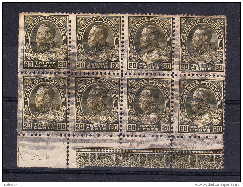 Canada Scott #119 Used Block Of 8 With Lathework 'A'  Plate A4 - 20c Admiral Issue Perf Faults - 1911-1935 Règne De George V