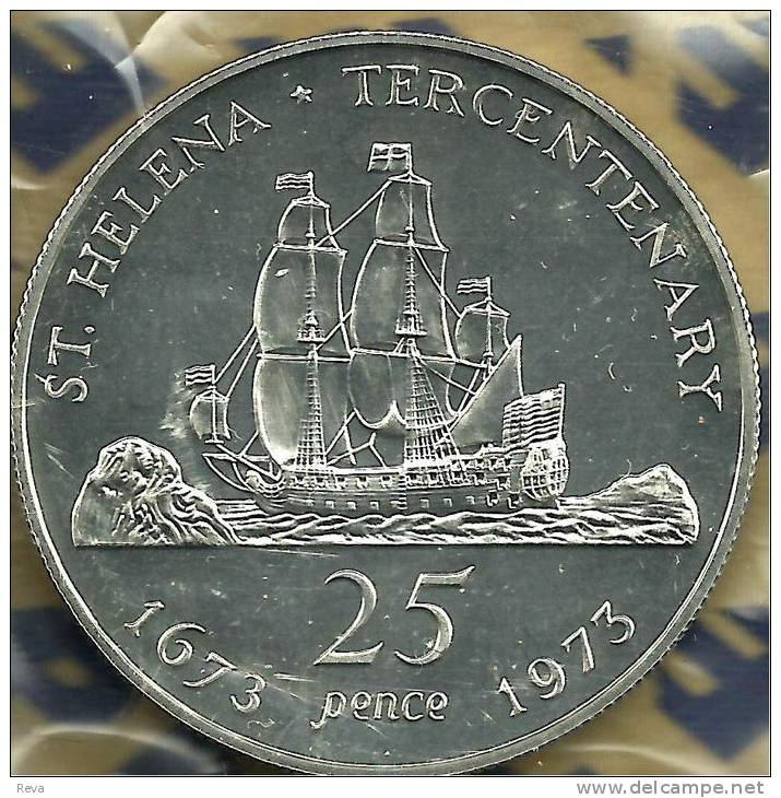 SAINT HELENA ISLAND 25 PENCE SHIP 300 YEARS  FRONT QEII HEAD BACK 1973 SILVER PROOF READ DESCRIPTION CAREFULLY!! - Sainte-Hélène