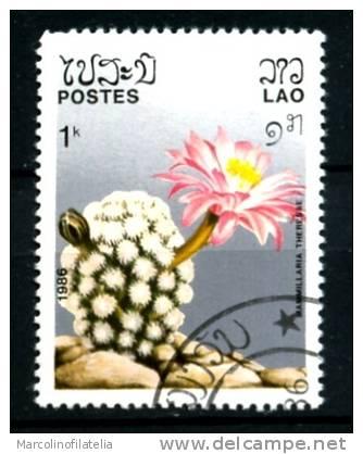 LAOS -LAO - Cacti - Cactus - 1986 - Mammillaria Theresae - Timbrato -used - - Sukkulenten
